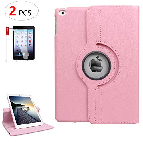 iPad Air 2 Case Cover with Bonus Screen Protector - Multi-Angle Viewing 360 Degree Rotating Smart Case Cover, Auto Sleep/Wake, Leather Full Body Protective Cover for Apple iPad Air 2 (Pink)
