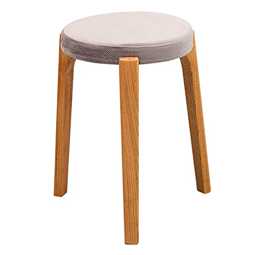 ve Dressing Stool Solid Wood Round Shoes Bench Fabric Cushions Can Be Stacked WEIYV (Color : Rice-Gray-A, Size : 39.545cm) ()