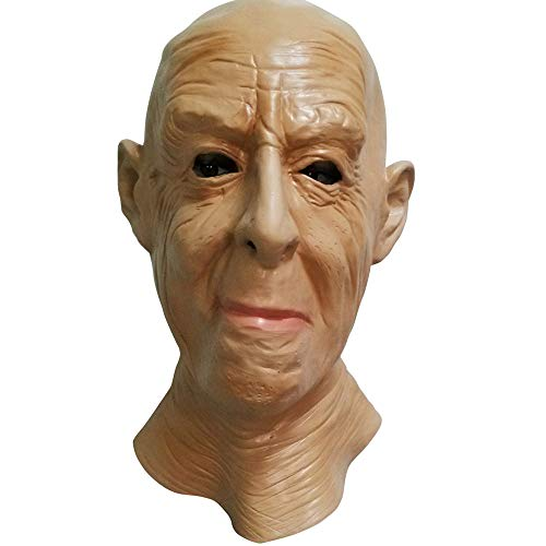 (Latex Realistic Old Man Mask Halloween Scary Male Full Overhead Rubber Adult Size Mask Party Costumes Props)