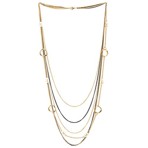COOLSTEELANDBEYOND Black Gold Statement Necklace Waterfall Multi-Strand Long Chains with Pearls Irregular Circle Charms