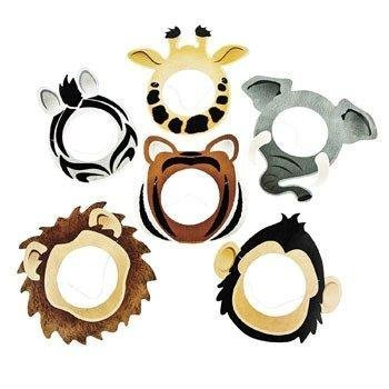 Safari Printed - Fun Express Dozen Cardboard Printed Safari Animal Face Masks