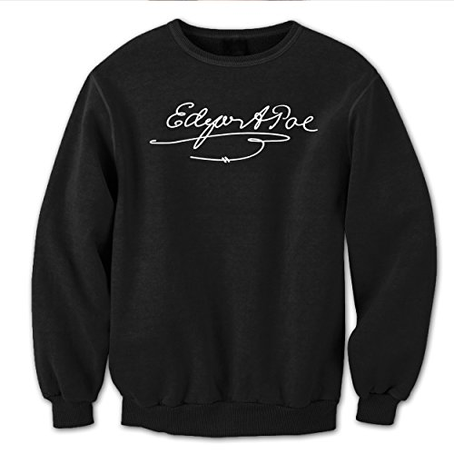Funny Threads Outlet Edgar Allan Poe Signature Poet Mens Sweatshirt Large - Allan Outlets