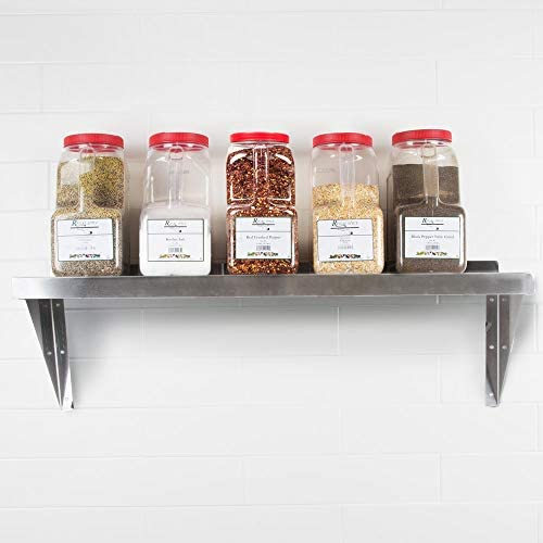 18 Gauge Stainless Steel Solid Wall Shelf, NSF Approved, Restaurant Grade (12