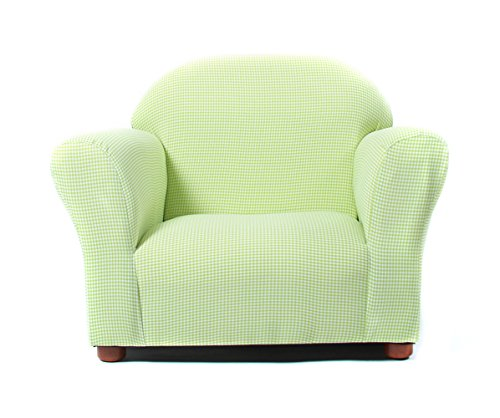 KEET Roundy Kid's Chair Gingham, Green (Fabric Upholstered Sofa Chair)
