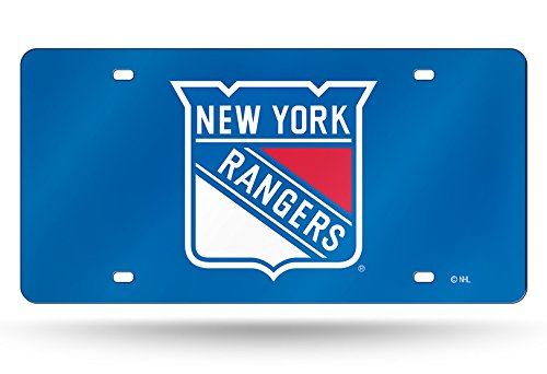 NHL New York Rangers Laser Inlaid Metal License Plate Tag, Blue - New York Rangers Laser