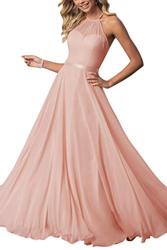 NewFex Halter Bridesmaid Dress 2019 Long Chiffon Women Formal Backless Simple Prom Party Gown Blush 12