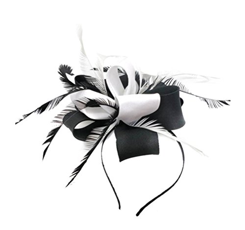 Fascinators Hair Clip Headband Flower Feather Cocktail Weeding Tea Party Headwear Top Pillbox Hat Girl Women Church Kentucky Derby (HS Black (Cocktail White Top Hat Headband)
