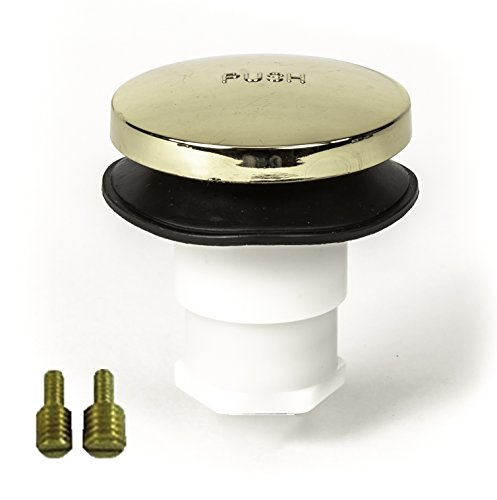 """PF WaterWorks PF0935-PB Universal Touch (Tip Toe or Foot Actuated) Bathtub/Bath Tub Drain Stopper Includes 3/8"""" and 5/16"""" Fittings, No No Hair Catcher, Polished Brass"""