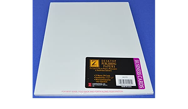 Amazon Com Z Grafix Desktop Publishing Papers Business Cards 3 1 2 X 2 25 Sheets Office Products