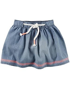 Girl Embroidered Denim Skirt with Rope Belt; Blue