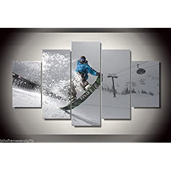 Snowboard sports print canvas decoration 5 pieces