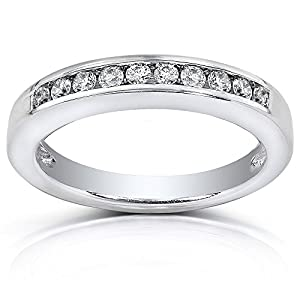 Channel Set Round Diamond Wedding Band 1/4 Carat (ctw) in 14K White Gold