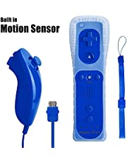 Wii Remote Controller with Built in Motion Plus and Nunchuk, Blue, 1 Pack, Compatible with Nintendo Wii, Wii U