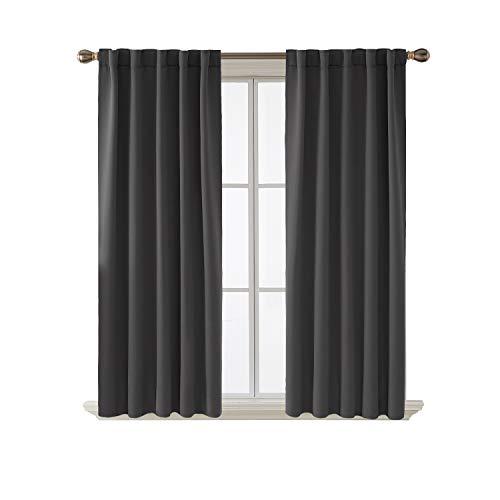 (Deconovo Blackout Curtains Back Tab and Rod Pocket Curtains 2 Panels (42W x 63L Inch, Dark Grey))