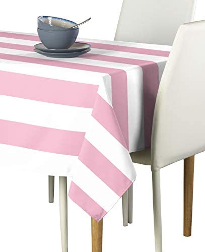 Pale Pink White Cabana Stripe Milliken Signature Tablecloth