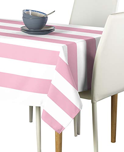 Pale Pink & White Cabana Stripe Milliken Signature Tablecloths - Assorted Sizes (60