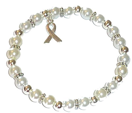 Hidden Hollow Beads Cancer Awareness 6mm Beaded Stretch Bracelet, Adult size, Comes Packaged (Lung Cancer - White Pearl)