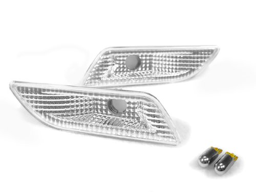 00-06 Mercedes W215 CL-CLASS CL500/CL600/CL55/CL65 CLEAR Bumper Side Marker Lights + CHROME BULBS