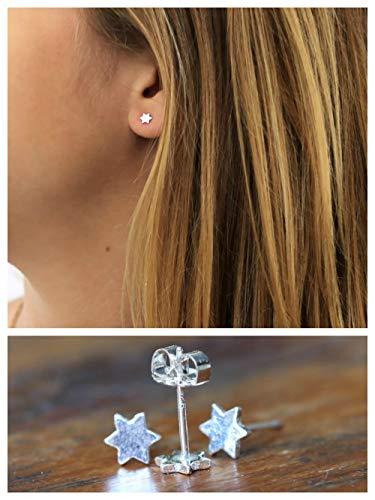 Silver Handmade Ring Designer Sterling - PAIR of Tiny Star of David stud earrings Sterling silver, Handmade Designer, 5mm 0.2