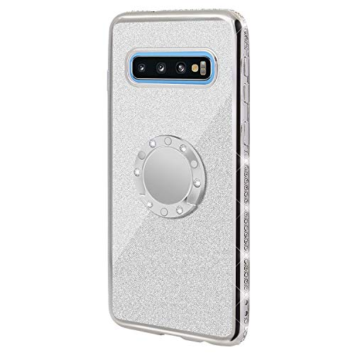 Gostyle Bling Glitter Case for Samsung Galaxy S10+/S10 Plus,Shiny Diamond Crystal Rhinestone Ultra Thin Soft Silicone Cover with Ring Holder Kickstand Plating Frame Shockproof Case,Silver