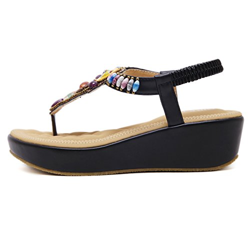 ZOEREA Chaussures Compensées Femme Noir vq3ojK