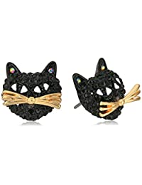 "Betsey Johnson""Skeletons After Dark"" Pave Cat Stud Earring"