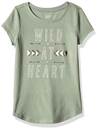 Crazy 8 Girls' Big Short Sleeve Curve Hem Graphic Tee, Wild at Heart, - Green T-shirt Wild
