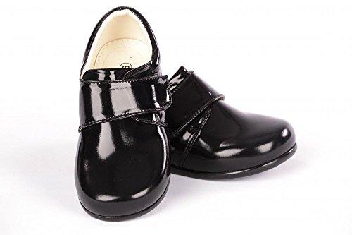 Intelligents Garçons bébé noir Velcro Chaussures de brevets bébé / enfant 1-10