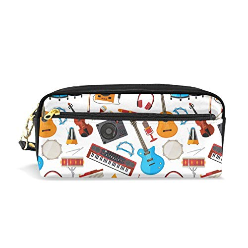 Speakers Amplifier Music Jazz Guitar Pencil Case Gift Students Canvas Pen Bag Pouch Stationary Case Makeup Cosmetic Bag