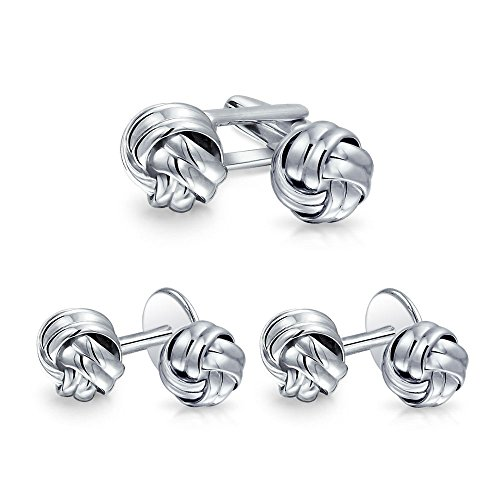 (Solid Double Knot Braided Twist Cuff Links Stud Sets For Tuxedo Shirts For Men 925 Sterling Silver)