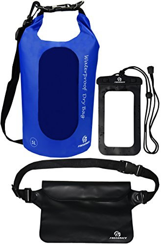 Freegrace Waterproof Dry Bags Set of 3 Dry Bag with 2 Zip Lock Seals & Detachable Shoulder Strap, Waist Pouch & Phone Case - Can Be Submerged Into Water - for Swimming (Navy Blue(Window), 5L)