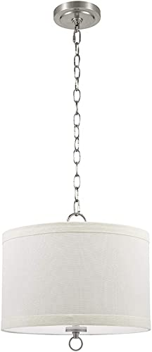 Catalina Lighting 22162-000 Traditional Linen Drum Pendant Ceiling Light with Etched Glass Diffuser, 13.25 , Brushed Nickel