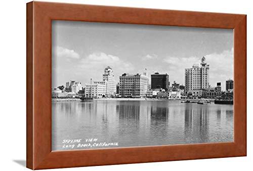 ArtEdge California City Skyline View Photograph-Long Beach, CA Brown Framed Wall Art Print, 12x16 in