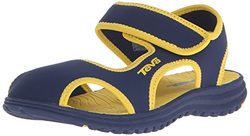 Shoes Water Teva (Teva Tidepool CT Water Sandal (Toddler/Little Kid), Navy/Yellow, 13 M US Little Kid)