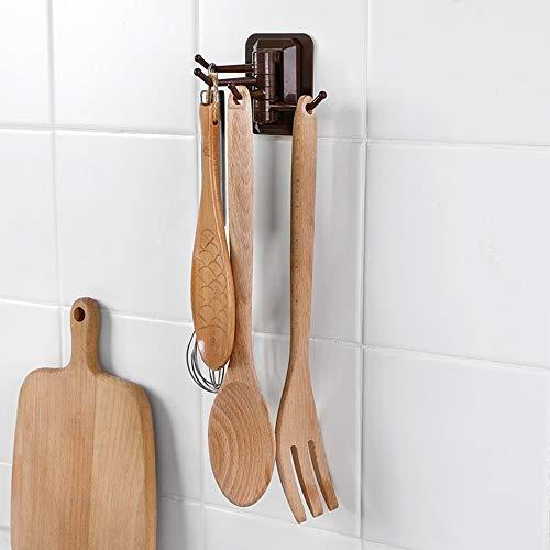 IEasⓄn Home Kitchen, 4- Link Hook in Rotary Kitchen Bathroom Wall Rack Towel Rack IE-NN20 (Coffee) by IEasⓄn (Image #2)
