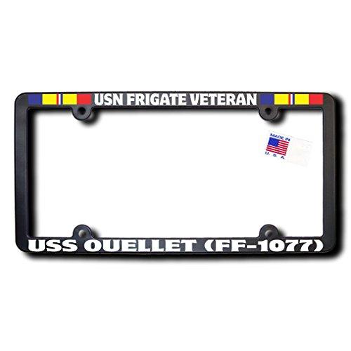 USN Frigate Veteran USS OUELLET (FF-1077) License Frame w/Reflective Text & Combat Action Ribbons -  James E. Reid Design, FFVCARR-079