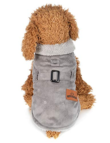 Suede Dog Faux Coat (MAZORT Dog Cold Weather Jacket Faux Suede Sherpa Lined Fur Trim Winter Coat for Small Dog Grey XL)