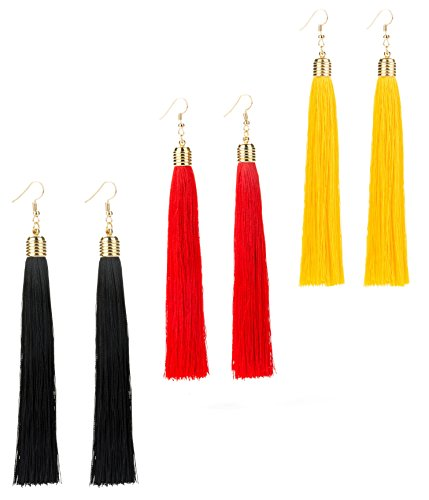 REVOLIA 3 Pairs Womens Long Tassel Dangle Earrings for Girls Fringe Drop Earrings Elegant (B.3 Pairs 3 ()