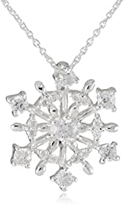 """Silver Plated Cubic Zirconia Starburst Snowflake Pendant Necklace, 18"""""""