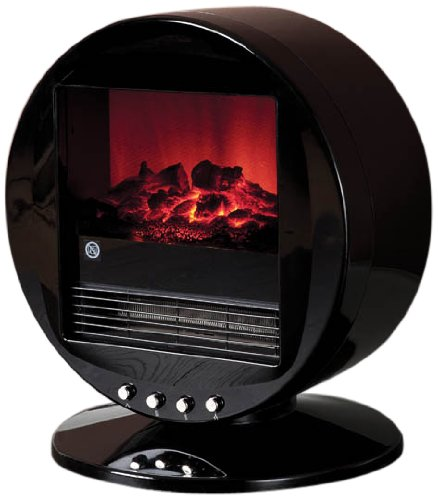 Fine Elements Desktop Heater with Flame Effect, 200w Power, Polished Black Effect, Tip Over Switch, 2 Heat Settings - Black ES1268