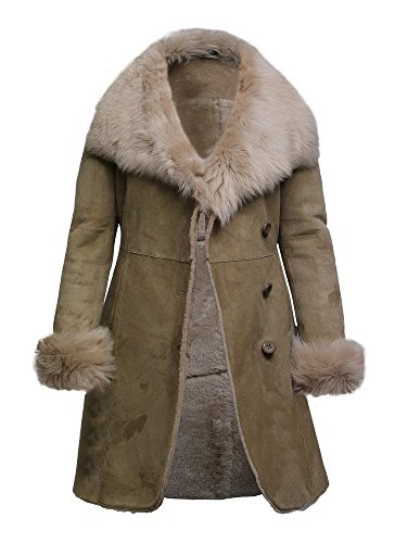 Biege Leather (Brandslock Women's Biege Spanish Merino Lamb Suede Finish Ladies Real Toscana Sheepskin Leather Coat (2XL/16, Beige))