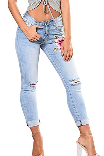 Simgahuva Womens Distressed Jeans Elastico Bordado Lápiz Pantalones De Cintura Alta Azul