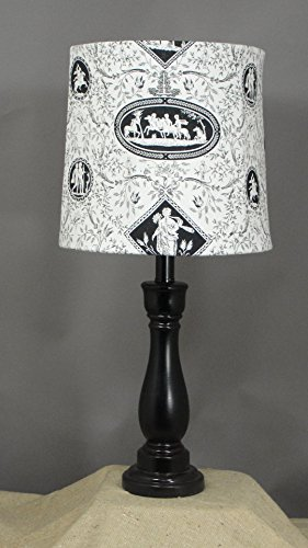 Black Accent Lamp with Black Toile Shade