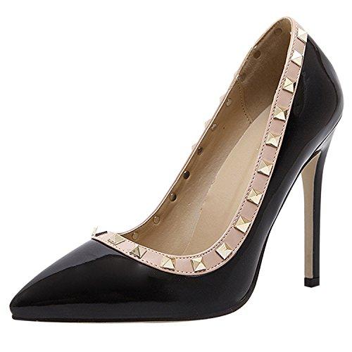 D2C Beauty Womens Pointed Toe Rivet Studded Slip-On High Heel Dress Sandal Pumps Black