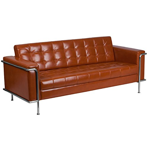 Ordinaire Flash Furniture HERCULES Lesley Series Contemporary Cognac Leather Sofa  With Encasing Frame