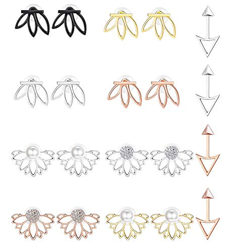 6751543ee1398 FUNRUN JEWELRY 10 Pairs Earrings Brass and Alloy Lotus Flower Stud for  women Girl in Stud Pearl Diamond Rose Gold Cubic Zirconia Small Jacket Back  ...