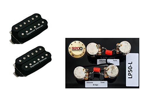 Les Paul Pickup Wiring - Duncan Pearly Gates Humbucker Pickup Set, Black+Les Paul Wiring Harness Long