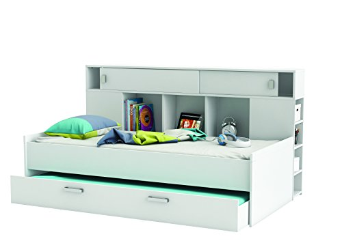 Demeyere 407011 Bettüberbau, Bett mit Bettkasten 90 x 200 cm SHERWOOD, weiß