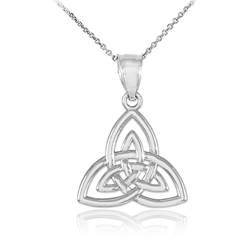 14k White Gold Celtic Knot Charm Triquetra Pendant Necklace, 18