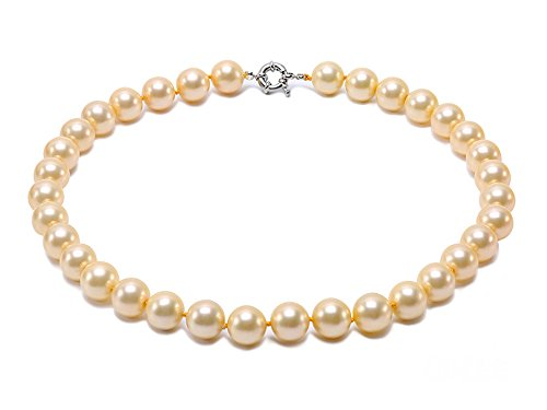 JYX 12mm Round Golden Seashell Pearl Necklace 18